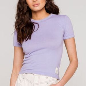 NWT BDG Ribbed Short Sleeve Baby Tee Lilac Sz S